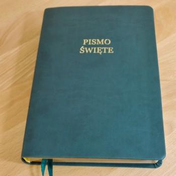 Biblia UBG Duża czcionka F2 PU Morski (Grubszy Papier)